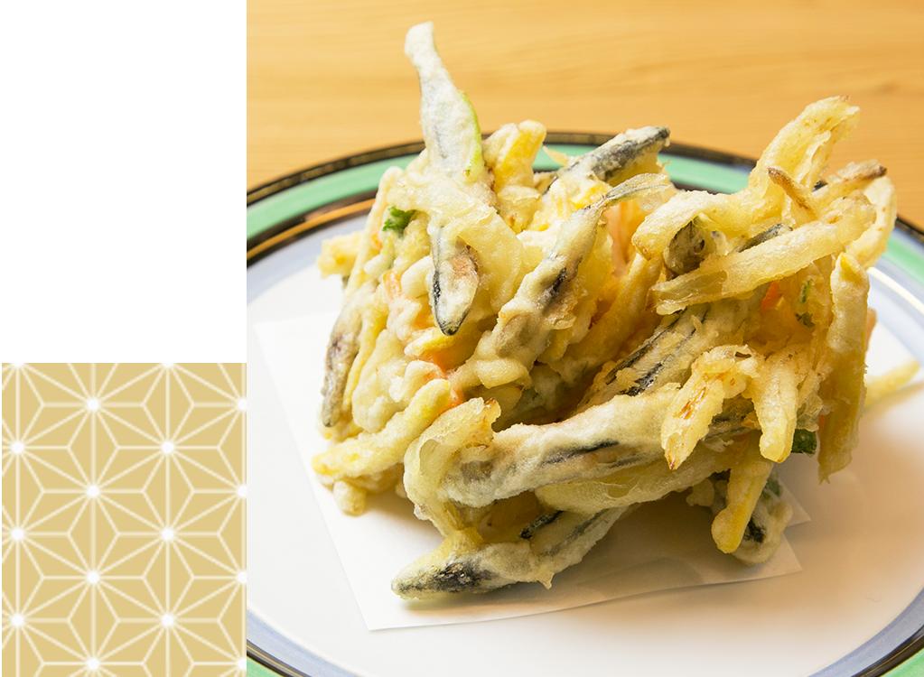 キビナゴと野菜のかき揚げ